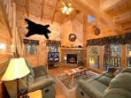 Living Room with Fireplace at Paws N' Claws
