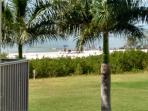 View of beach from deck