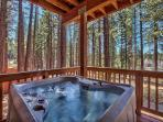 Soak in our hot tub located off the lower level bedroom.