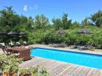 30 foot plans pool in secluded setting.