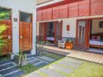 Outdoor shower and toilet/Bedrooms 1 & 2