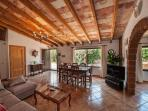 Spacious Living Room with wooden Beams