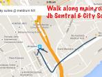 Map to CIQ, JB Sentral and City Square Shopping Centre