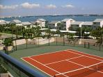 Tennis court on the 3rd floor.  Photo taken facing East with view of intracoastal waters.