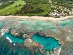 Great aerial view of 'the blue hole' amazing snorkeling and diving accessible from our beach