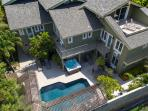 Aerial view over the villa pool and jacuzzi.