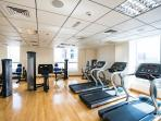 The gym (free to use by guests) on the top floor of the building