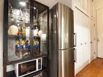 Curios, microwave, refrigerator.