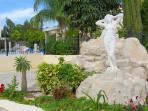 statue and garden outside the villa