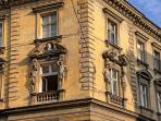 the facade of the house