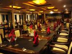 The restaurant located on the spacious terrace deck, and designed along Feng Shui principles