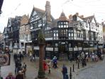 Famous 15th century Shopping Rows and  Cross, a meeting place since the Middle Ages