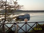 The 'Sea Lion' (Kariba Ferry) coming in to Mlibizi dock as viewed from No.7 front patio