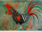 Fun rooster painting by Rita Ventura