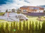 Hubschrauber-Landeplatz vor dem Loft