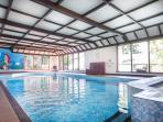 Our 33ft indoor pool with sauna and fitness room