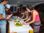 Cooking class on sundeck