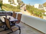 Enjoy views of Cabo on the patio complete with table, chairs, and comfy couch!