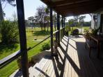Beautiful morning sun on verandah and view towards large dam to the East