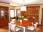 Spacious dining room that comfortable seats 8.