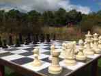 In summer there's an outdoor chess set in the lodge meadow