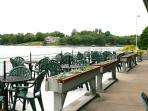Restaurant seating on the lake
