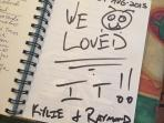 A happy entry in our GuestBook, one of many :)