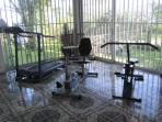 The downstairs is equipped with onsite exercise machines and a TV & DVD player, as well as AC.