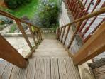 steep stairs going down from our decking to the Garden room
