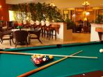 Restaurant and bar with free billiards at nearby 9000 s.f. Clubhouse