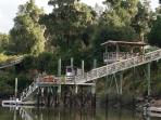 View of our three tiered dock from up the river.