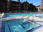 The outdoor pool and hot tub are enticing on both snowy and sunny days