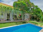 Private swimming pool with garden