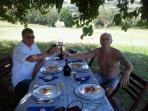 good food, tastefull wine under the trees