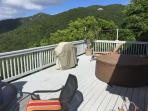 Large deck complete with lounge chairs, BBQ grill, hot tub and a few conch shells for fun