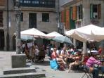 Bars and restaurants in one of the many squares in Pontevedra