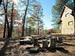 Take in the mountain air by the community fire pit!