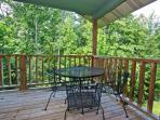 Back Porch Dining and Grilling Out at Crestview Chalet #1 in Gatlinburg, Tennessee