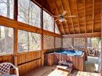 The hot tub awaits you and on warmer days you can use the charcoal grill and sit at the picnic table and enjoy your...