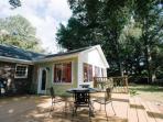 Shady back yard w/ large deck- New BBQ Grill - Fenced in for Pooch & Kiddies
