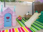 gated play area + pergola for shade