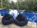 Waterproof bean bags to laze pool side