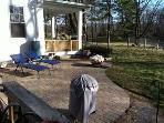 Patio with Weber grill and Charbroil Gas Grill plus a fire pit