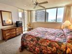 King sized bed with great views and access to the lanai.