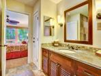 Master bathroom that opens up to bedroom.