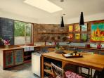 This fully equiped, state of the art kitchen is made from recycled teak from the colonial era