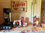 coffee station in larger bedroom