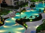 Pool lit up at night
