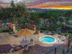 Sunset view from the 3rd spa and spacious patio
