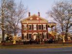 Dahlonega Gold Museum on the square decorated for Christmas.